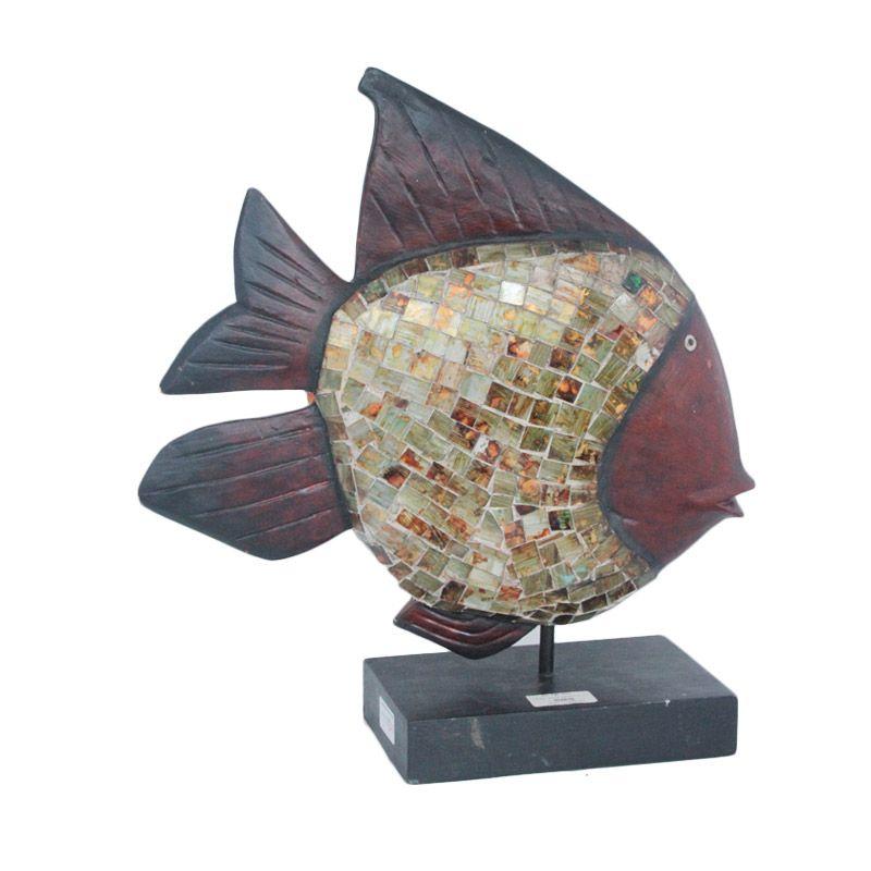 Smesco Trade Ikan Stick Mozaiq Coklat Tua Patung