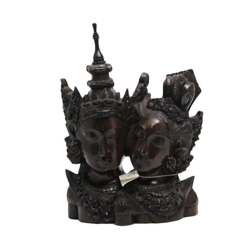 Smesco Trade Kepala Rama Shinta Sedang Coklat Patung Kayu