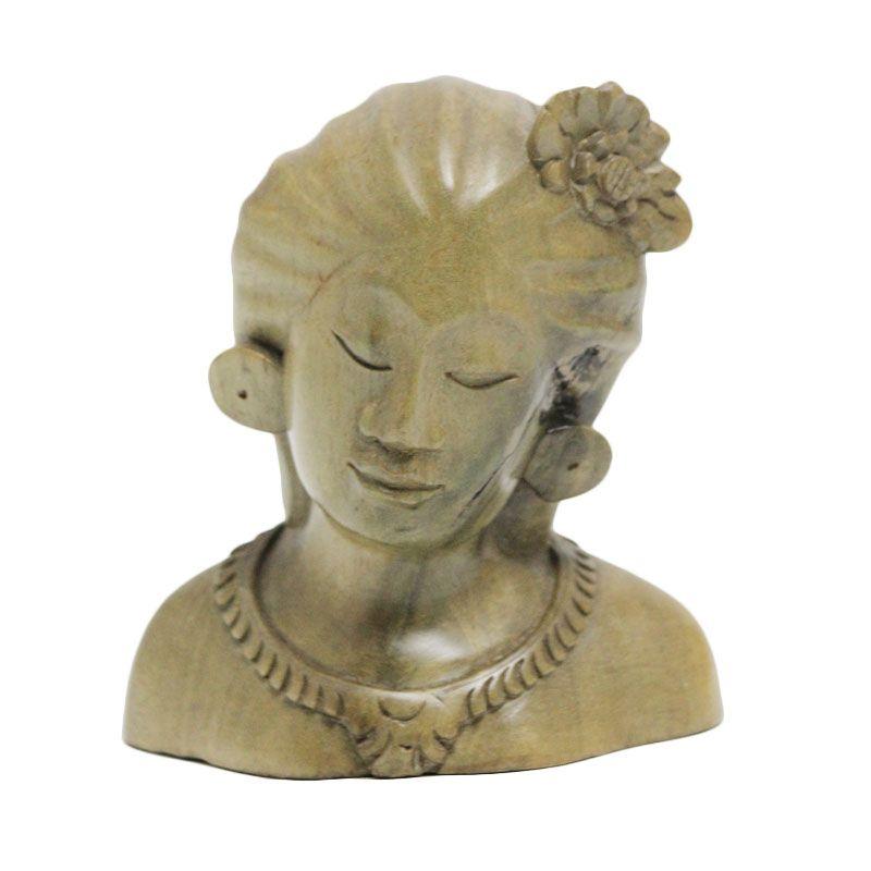 Smesco Trade Kepala Wanita Memakai Bunga Coklat Hijau Patung Kayu