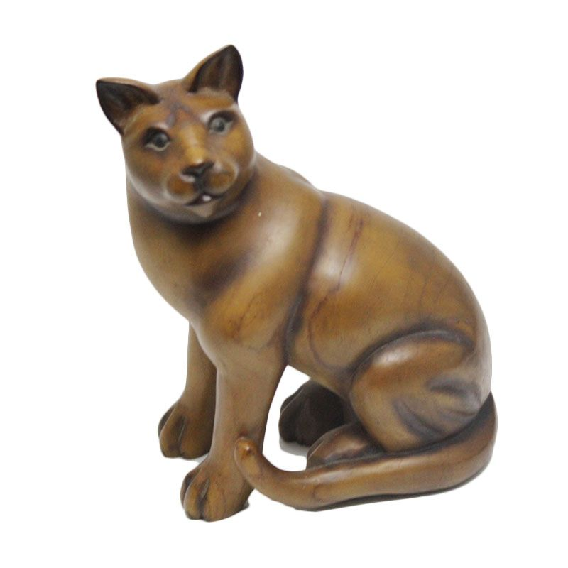 Smesco Trade Kucing Coklat Tua Patung Kayu