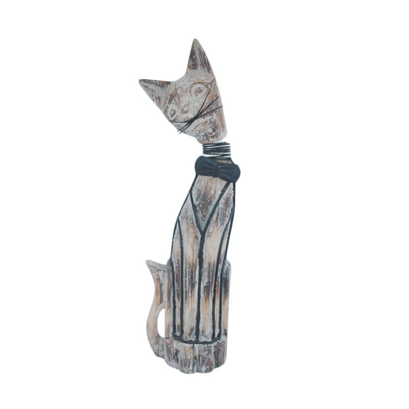 Smesco Trade Kucing Hitam Putih Patung Kayu