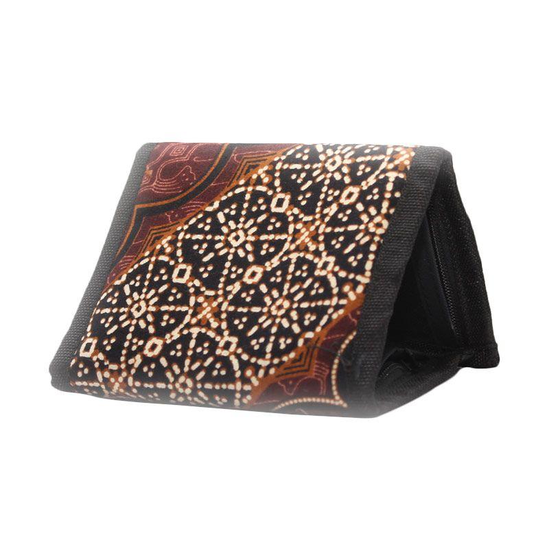 Smesco Trade Lipat 3 Motif Batik Bunga Cokelat Hitam Dompet