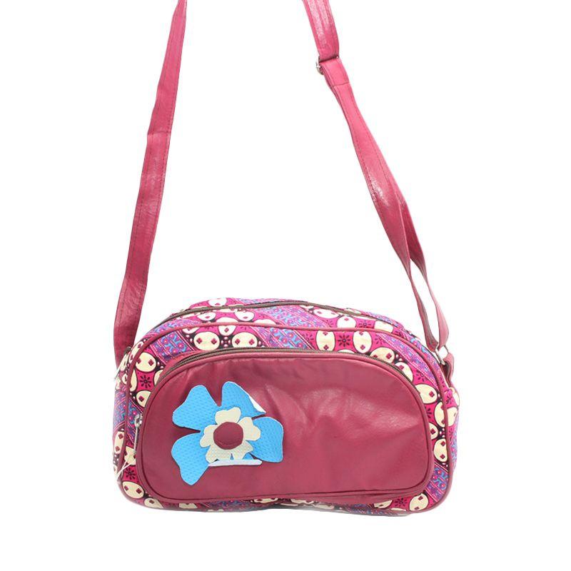 Smesco Trade Motif Batik Bunga Pink Putih Biru Tas Selempang