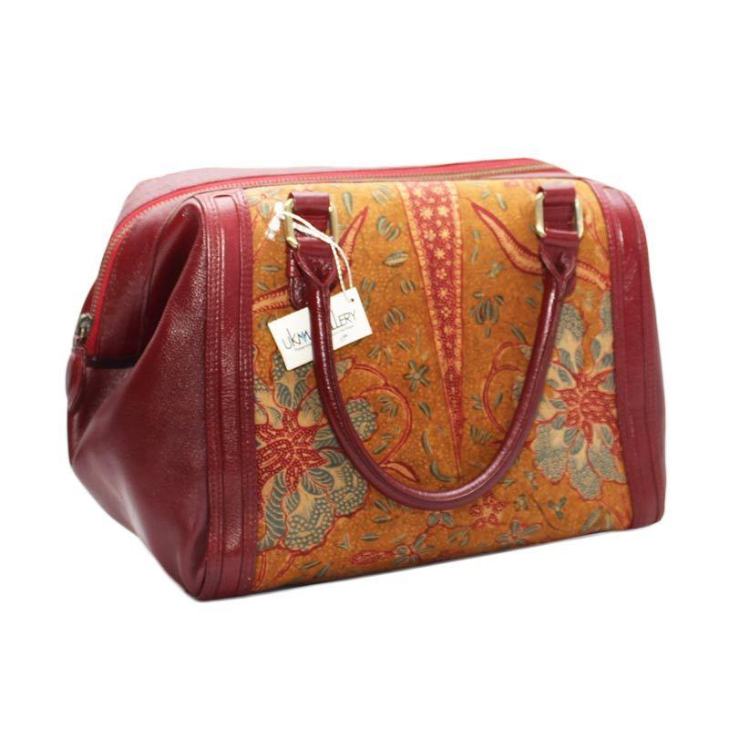 Smesco Trade Motif Batik dan Bunga Merah Tua Tas Tangan