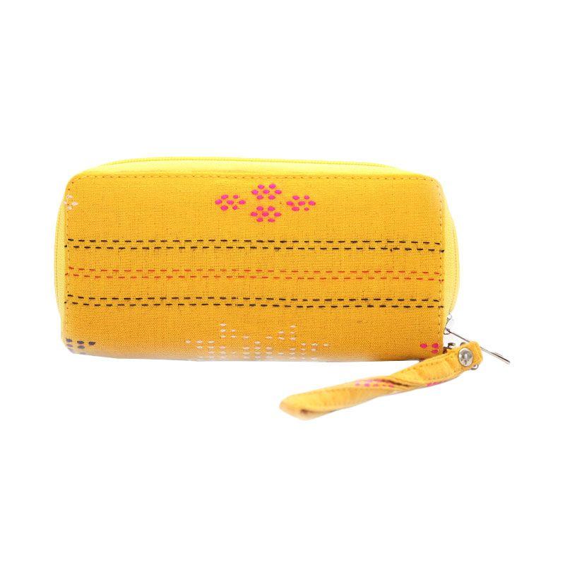 Smesco Trade Motif Garis dan Bunga Kuning Dompet