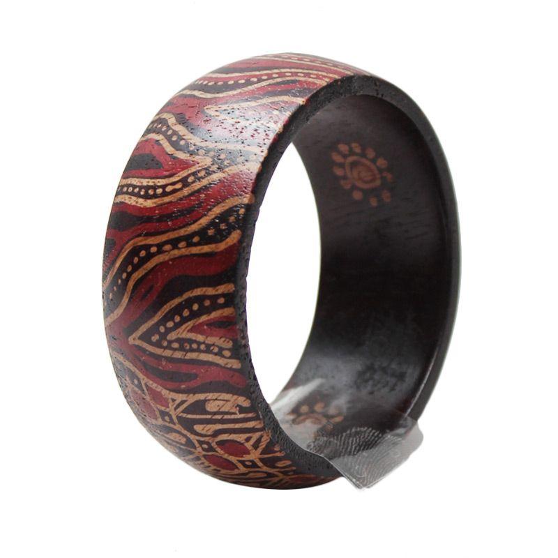 Smesco Trade Napkin Ring Motif Batik Garis Coklat Tua Gelang