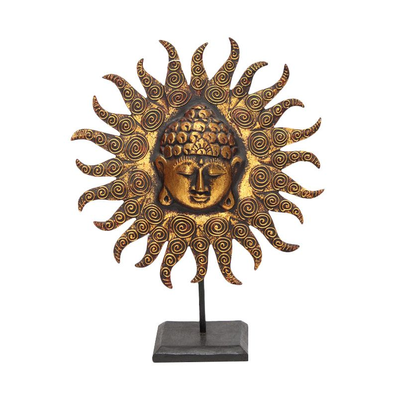Smesco Trade Buddha Coklat Gold Patung Kayu