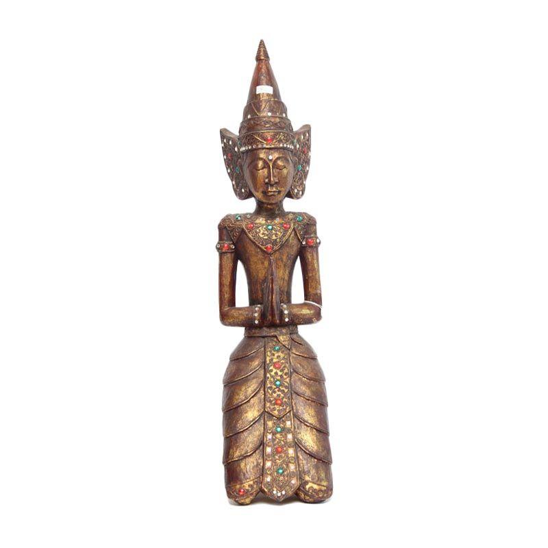 Smesco Trade Patung Sembah Khas Hindu Coklat Gold Hiasan Kayu