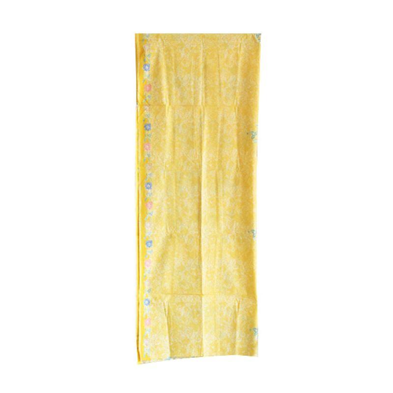 Smesco Trade Sarung Primis Encim Bunga dan Daun Kuning Kain Batik