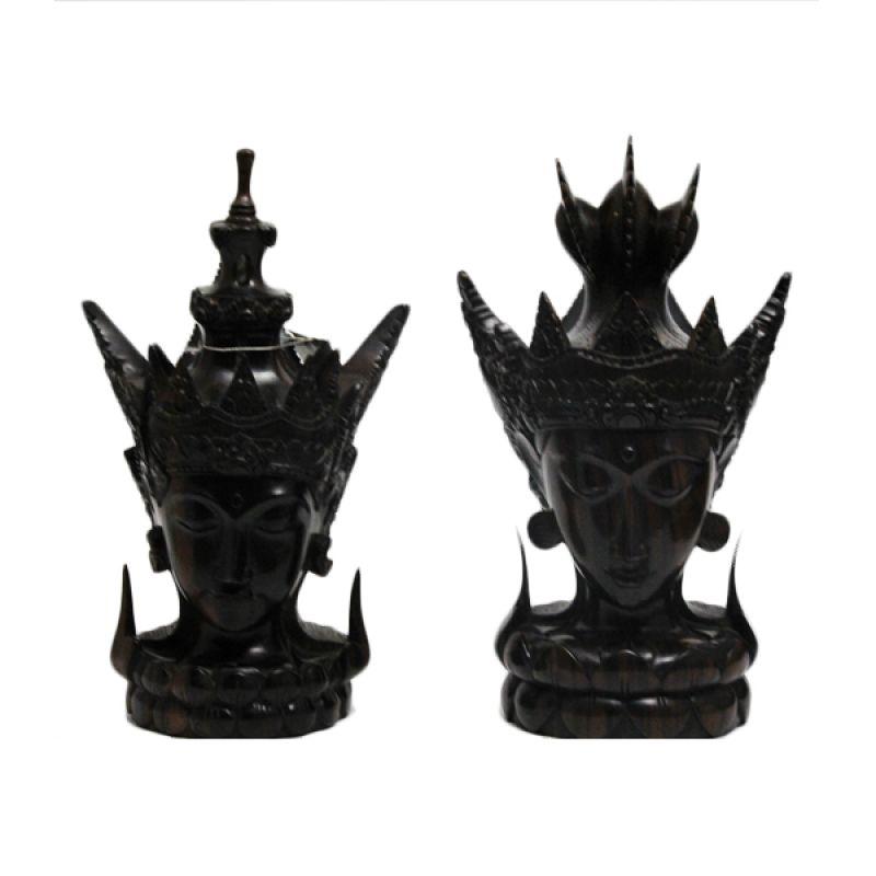 Smesco Trade Sepasang kepala Rama Shinta Dark Coklat Patung Kayu