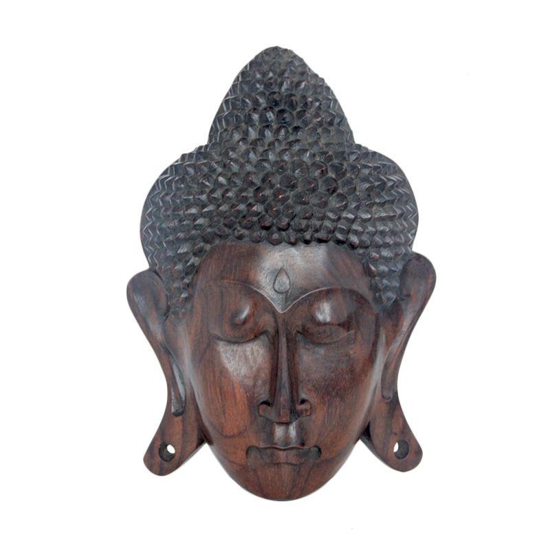 Smesco Trade Topeng Buddha Coklat Hiasan Kayu
