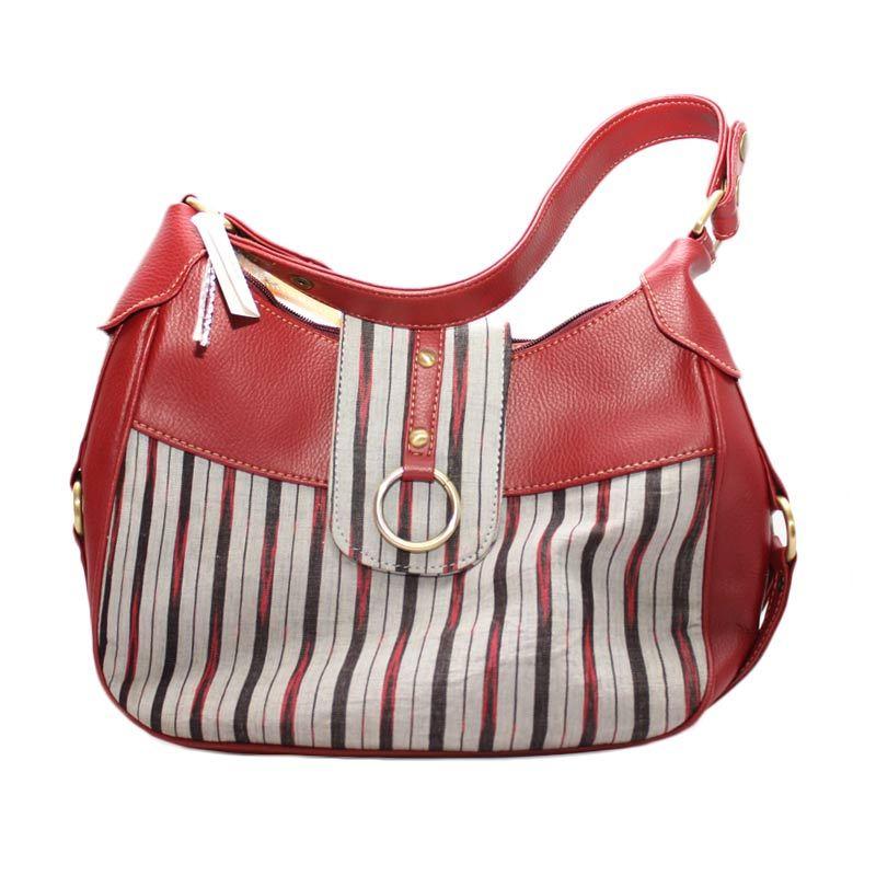 Smesco Trade Wanita Motif Garis-garis Merah Tas Tangan