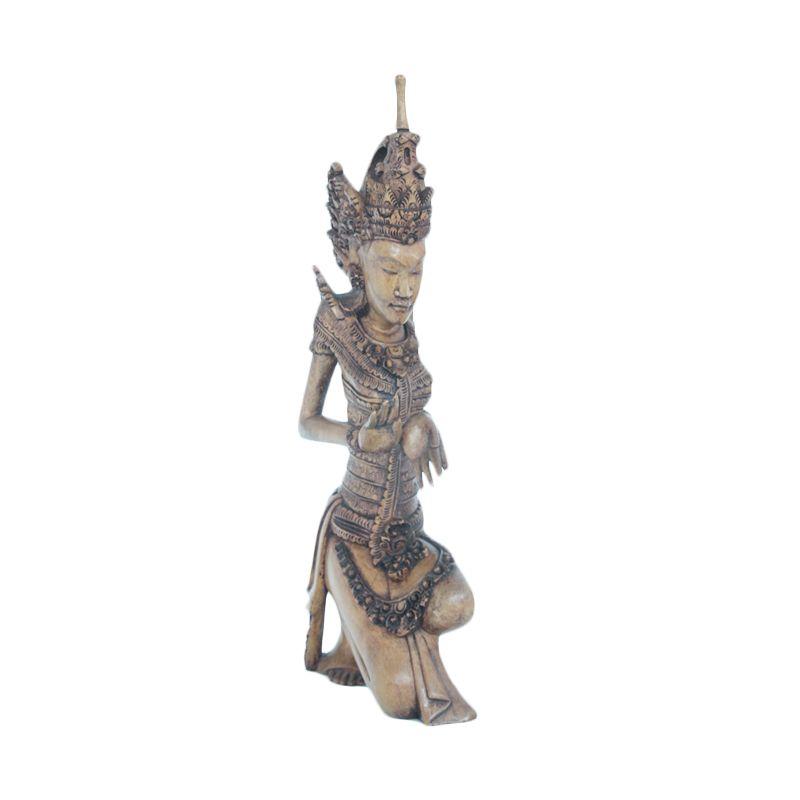 Smesco Trade wanita Sembah Besar Coklat Patung Kayu