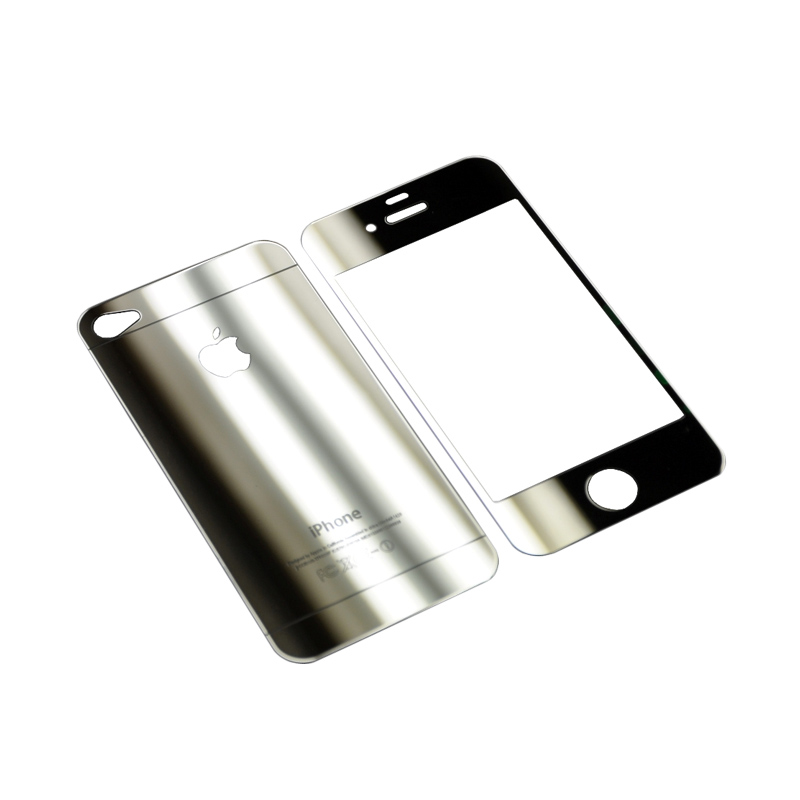 SMILE 2in1 Tempered Glass for iPhone 4 or 4s - Silver