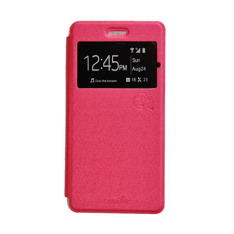 SMILE Standing Cover Casing for Oppo F1 - Hot Pink