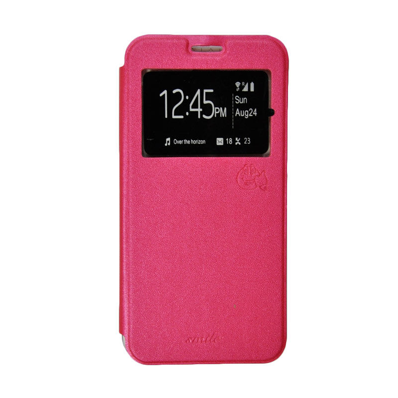 SMILE Standing Cover Casing for Samsung Galaxy A8 - Hot Pink