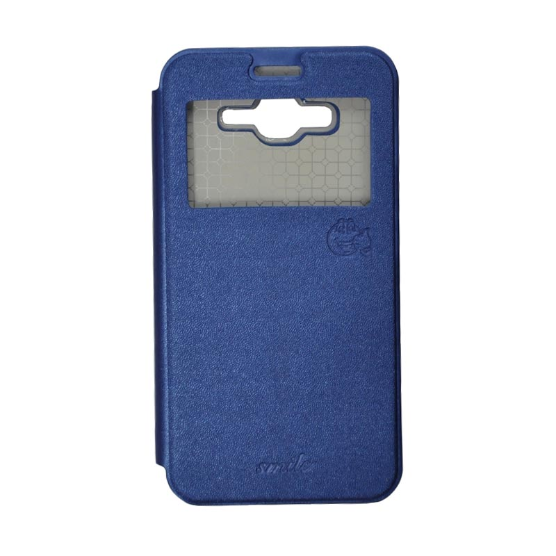 Smile Standing Cover Casing for Samsung Galaxy J7 - Deep Blue