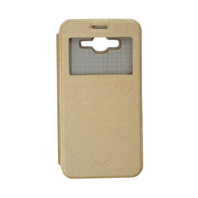 SMILE Standing Cover Casing for Samsung Galaxy J7 - Gold