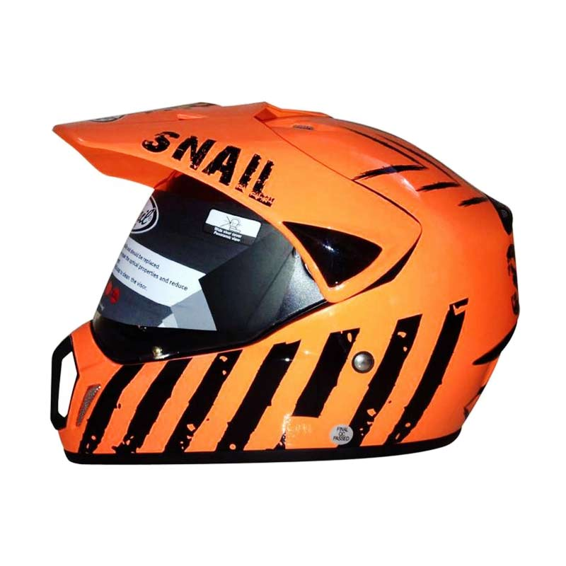 harga Snail Helmet Motocross Single Visor MX-310 Supermoto Motif Orange [HLM6090-MTFORANGE] Blibli.com