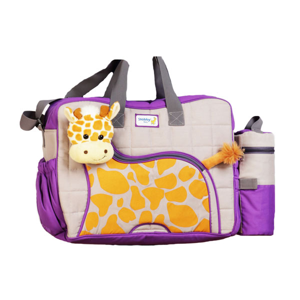 Snobby TPT 1577 Tas Bayi Besar Saku Aplikasi Boneka + TBSD Giraffe Series - Ungu