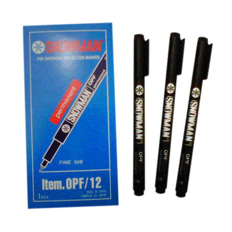 Snowman OHP OPF Fine Merah Pen [12 Pcs]