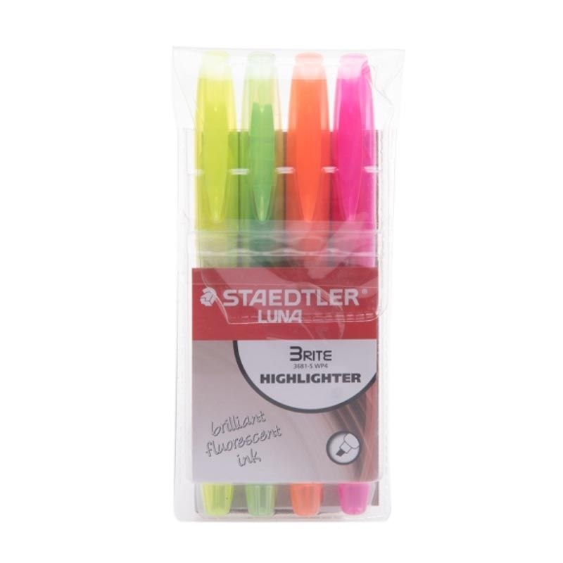 Staedtler Luna Brite Highlighter Single Tip Set Stabilo [4 Pcs]