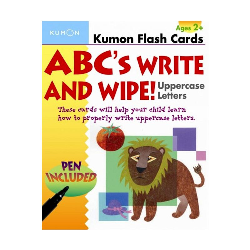 Kumon ABCs Write and Wipe Uppercase Letters Flash Card Mainan Anak