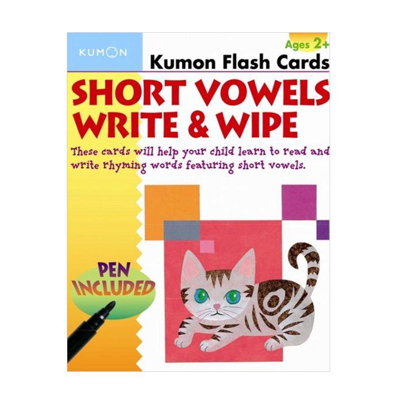 Kumon Short Vowels Write and Wipe Flash Cards Mainan Anak