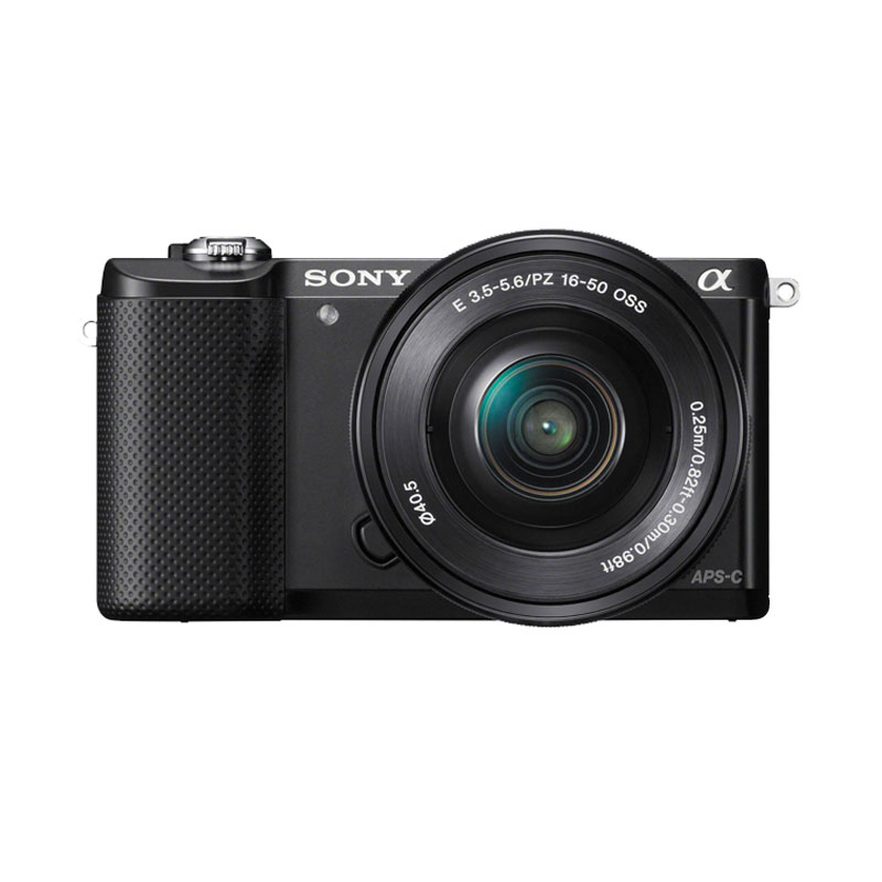 Sony Alpha A5000L Kit 16-50mm PZ OSS Kamera Mirrorless - Black + Free Memory 8GB