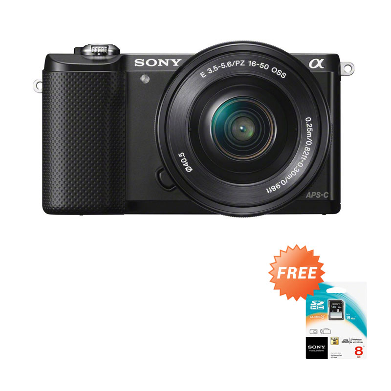 Sony Alpha A5000 Kit 16-50mm Kamera Mirrorless - Hitam [20.1 MP] + Free Sony SDHC 8 GB