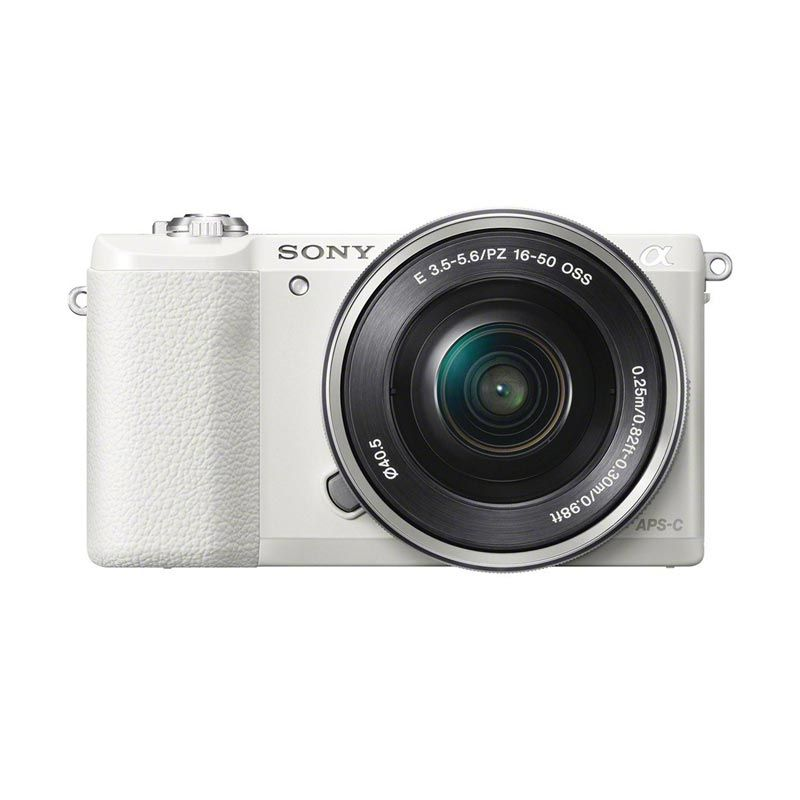 Sony Alpha A5100L Kit 16-50mm PZ OSS Kamera Mirrorless - White + Free Memory 8GB