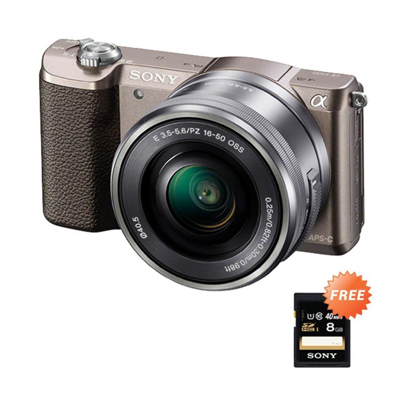 SONY Alpha A5100 Kit 16-50mm Kamera Mirrorless - Brown + FREE SONY SD 8GB