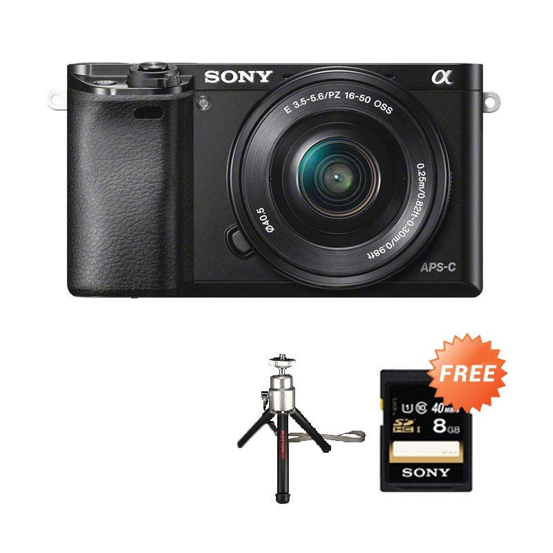 harga SONY Alpha ILCE A6000 L Kit 16-50mm Kamera Mirroless - Hitam + Free Kartu Memori SONY 8 GB + Tripod Mini Blibli.com