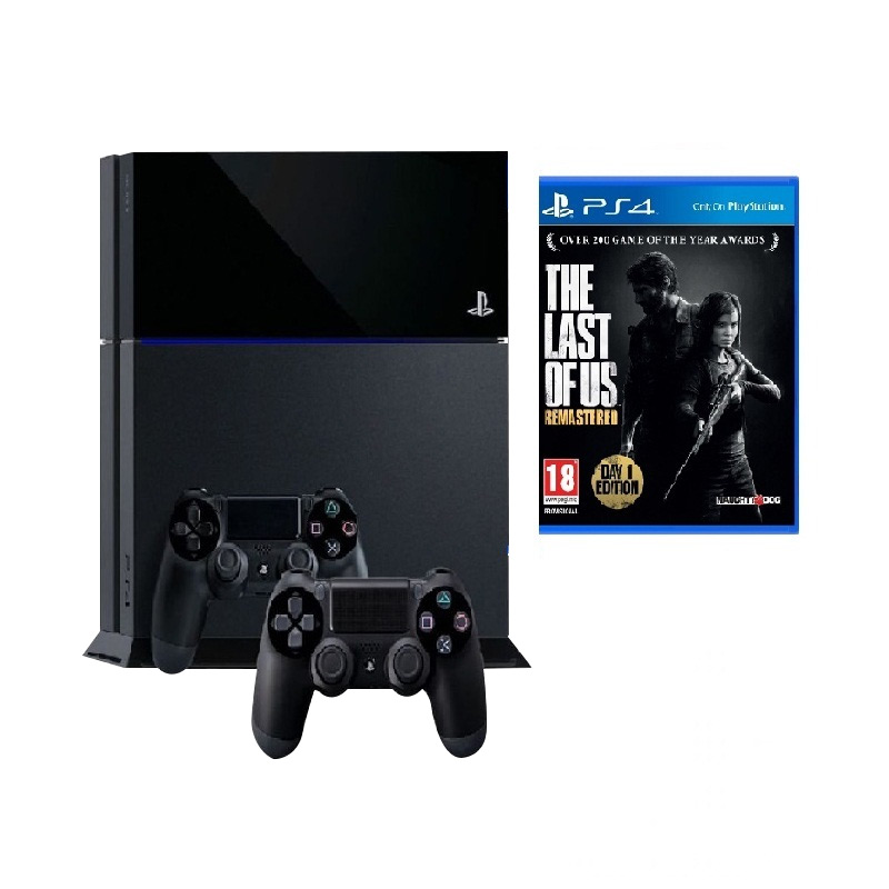 Sony PS4 Black Game Console [500 GB] + Last Of Us DVD Game + 2 Stick Controller