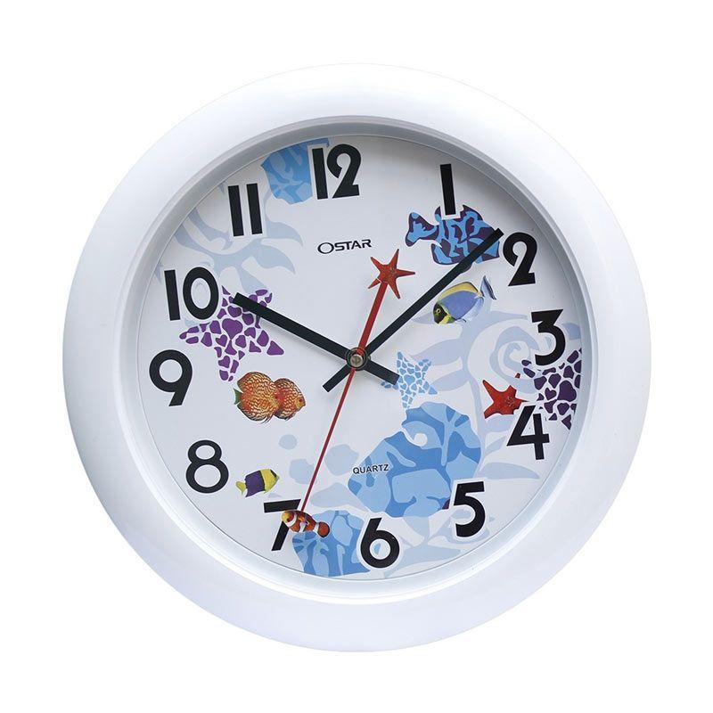 Ostar Souvenir Online Putih Jam Dinding [33 cm]