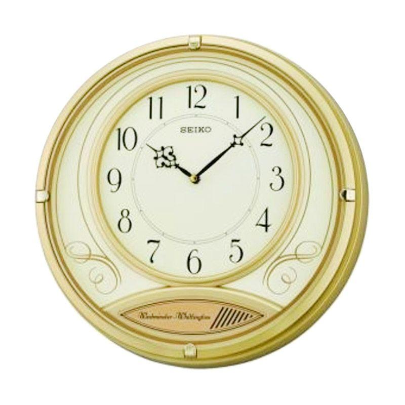 SEIKO QXD213G Dual Chimes Gold Jam Dinding [36 cm]