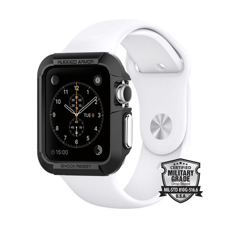 Spigen Black Rugged Armor Casing for Apple Watch [42 mm]