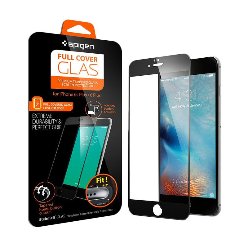 Spigen Full Cover Tempered Glass Oleophobic Coated Black Casing for iPhone 6S or iPhone 6 (4.7 Inch)