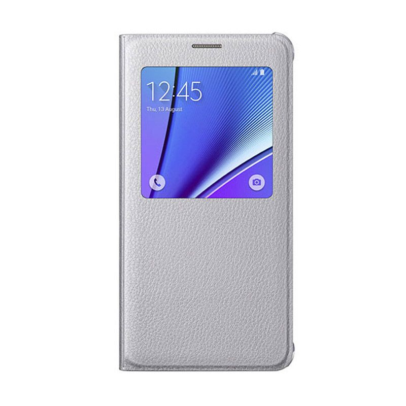 Samsung S View Silver Flip Cover Casing for Samsung Galaxy Note 5