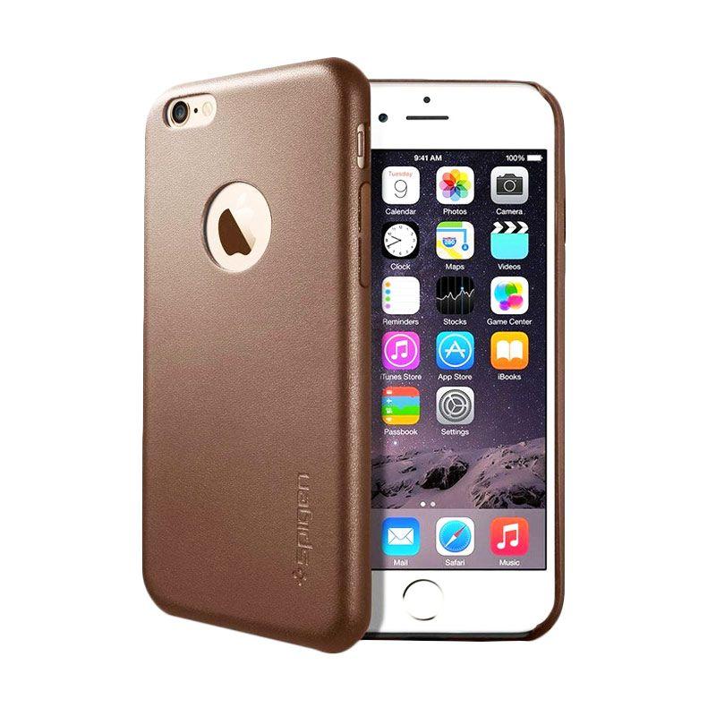 Spigen Leather Fit Cokelat Casing for iPhone 6 Plus
