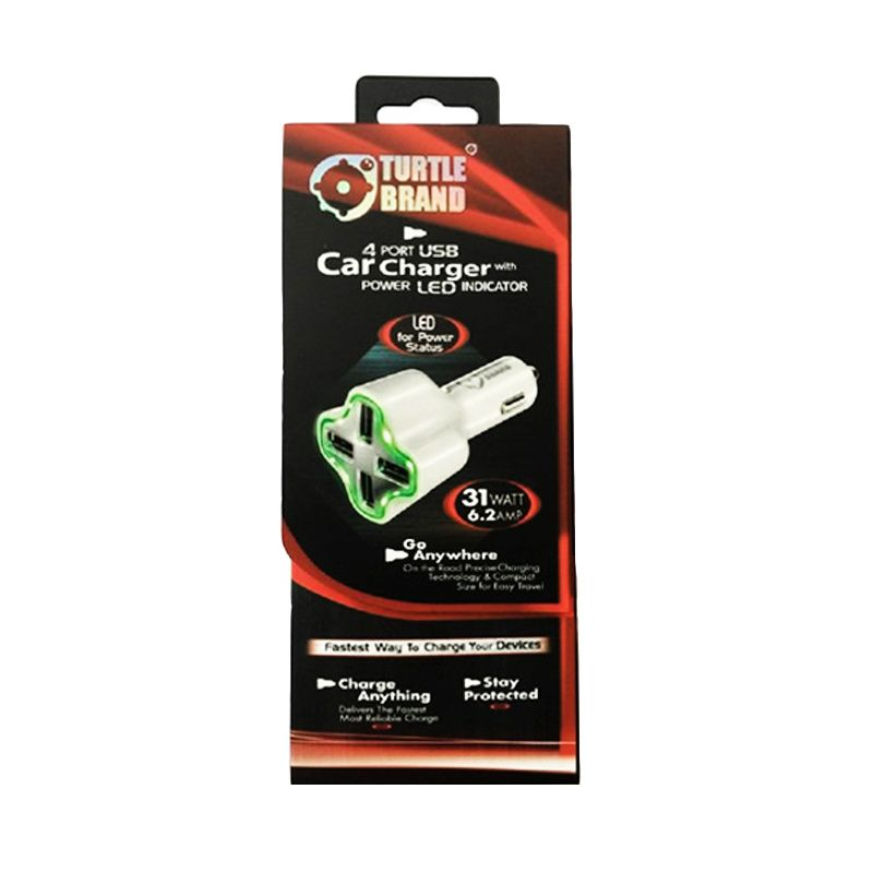 Turtle Turtle Brand USB Putih Car Charger [4 Port]