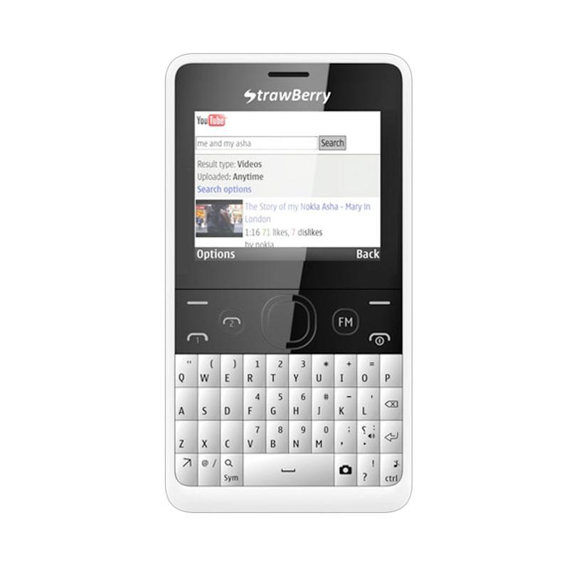 Strawberry S8 QWERTY White Handphone
