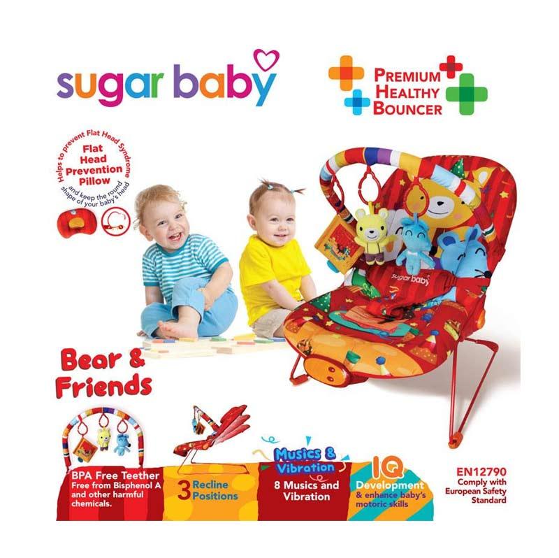 Sugar Baby Bouncer 3 Recline Bear n Friends Merah Tempat Tidur Bayi
