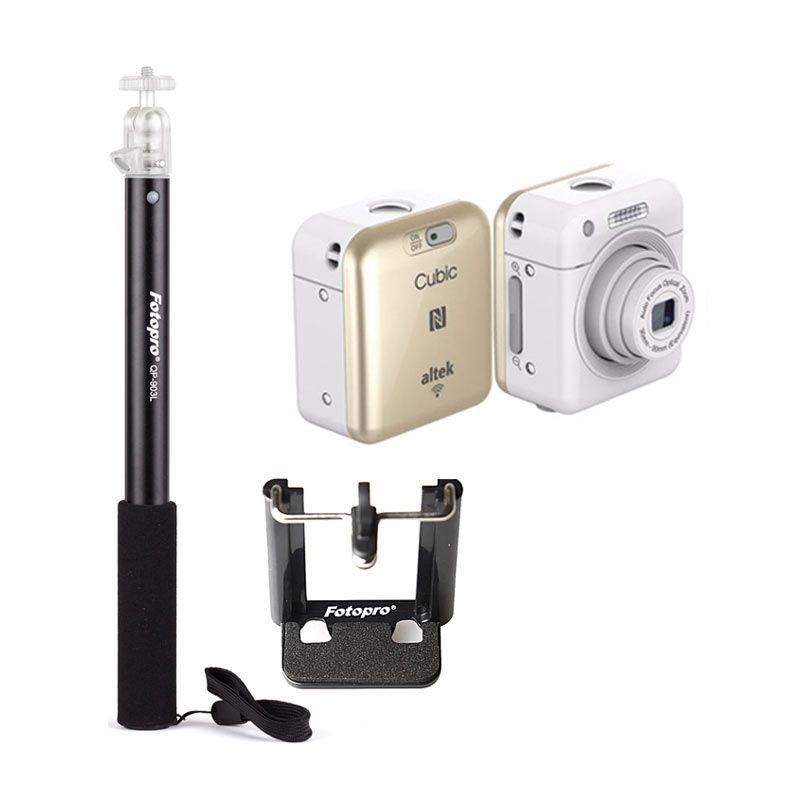 Altek Cubic Smart Mini Wireless Cube Camera Selfie Gold Free Tongsis Alumunium