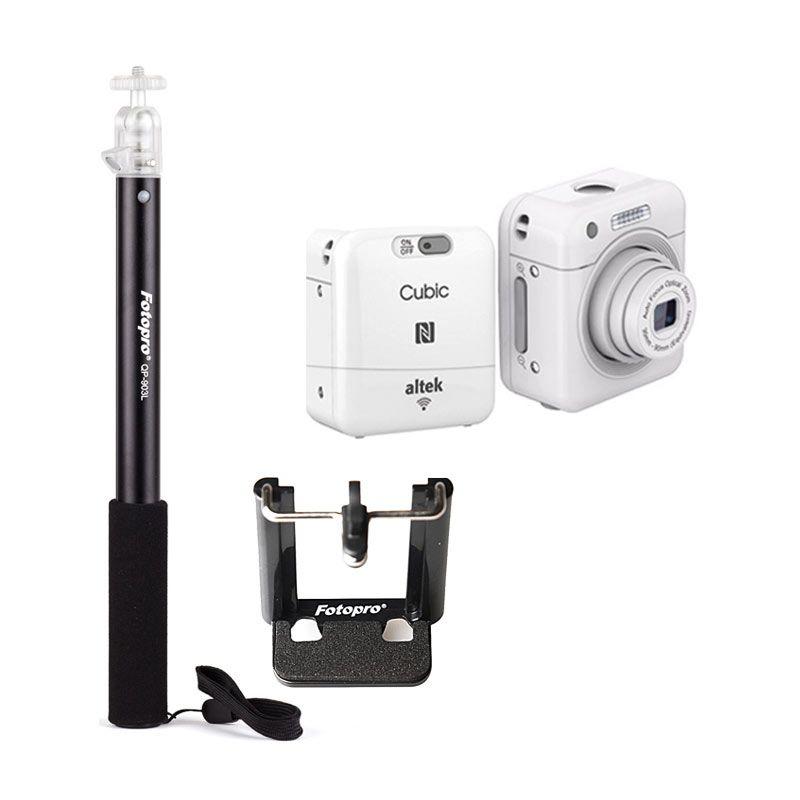 Altek Cubic Smart Mini Wireless Cube Camera Selfie Putih Free Tongsis Alumunium