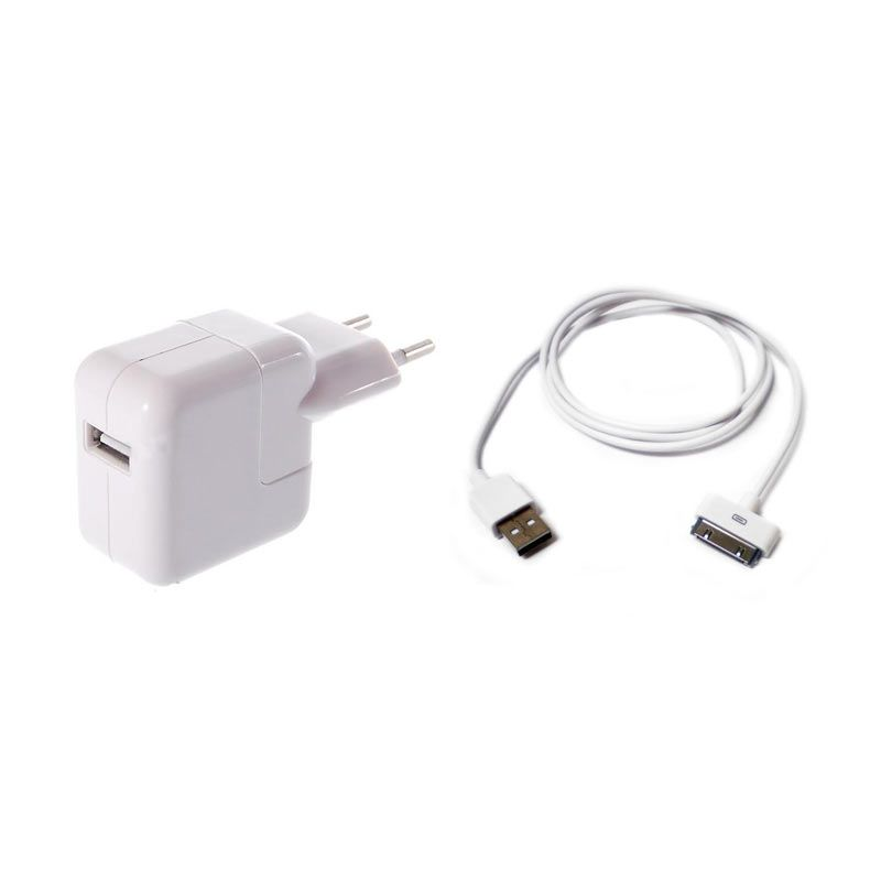 Apple OEM White Charger for iPad + Kabel Data 30 pin