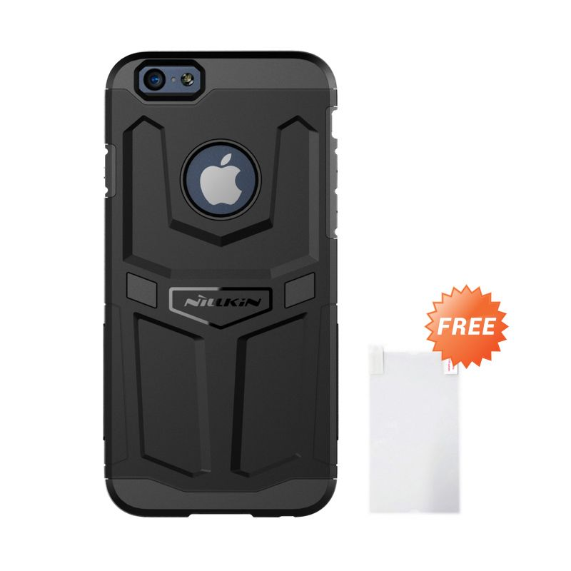 Nillkin Defender Tough Shock Proof Black Casing for iPhone 6 + Nillkin Screenguard depan