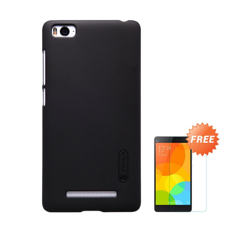 Nillkin Frosted Hard Black Casing for Xiaomi Mi4i + Tempered Glass