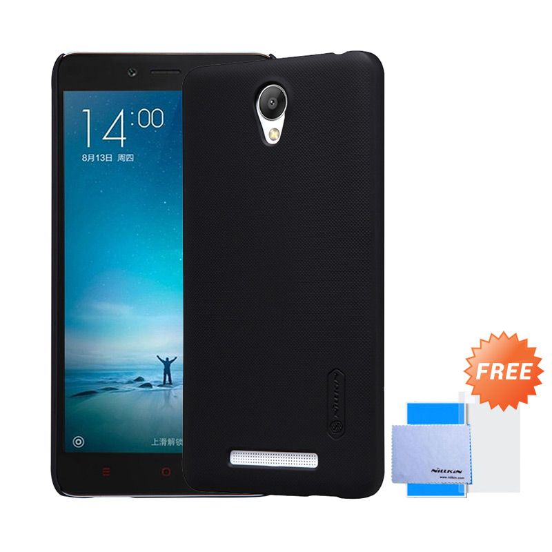 Nillkin Frosted Black Hardcase Casing for Xiaomi Redmi Note 2 + Screen Protector