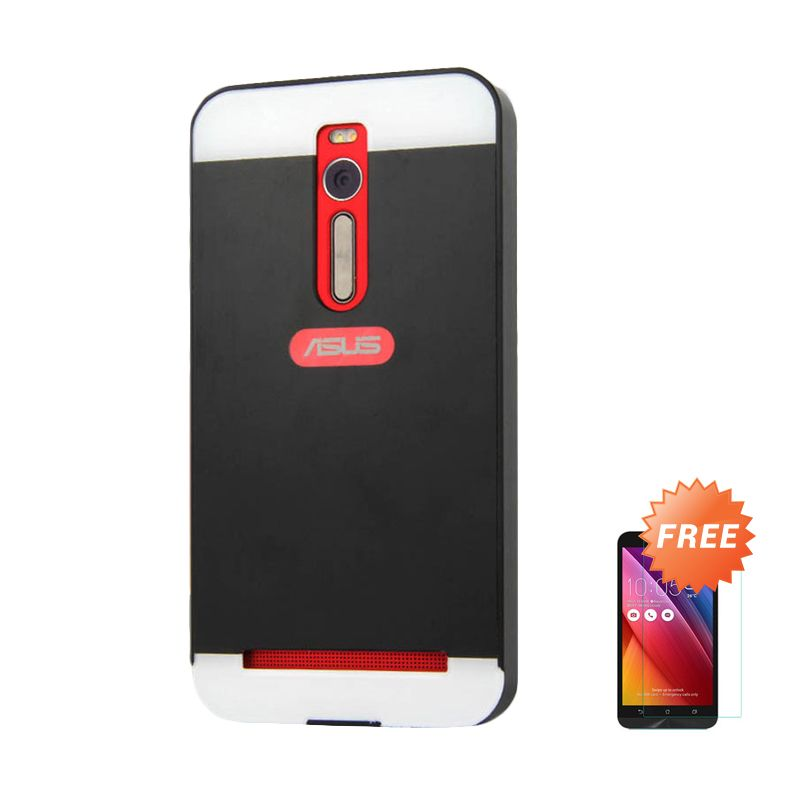 Sunrise Aluminium Bumper Black Casing for Zenfone 2 ZE551ML/550ML 5.5 Inch + Tempered Glass Screen Protector